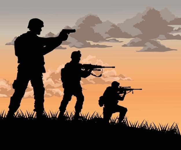 Esquadrão de soldados cena do pôr do sol