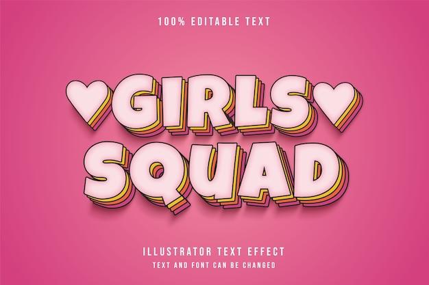 Esquadrão feminino, efeito de texto editável em 3d, gradação de rosa em quadrinhos, camadas de texto sombreado