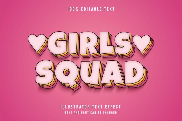 Esquadrão feminino, efeito de texto editável em 3d, gradação rosa, camadas cômicas, estilo de texto de sombra