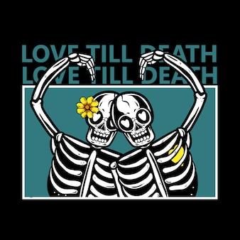 Esqueleto casais apaixonados por flores na cabeça ilustração