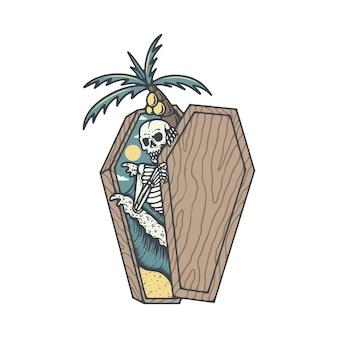 Esqueleto caveira morte verão praia ilustração