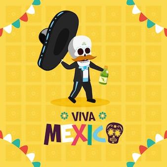 Esqueleto com chapéu e tequila para viva mexico
