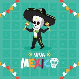 Esqueleto com maracas para o viva mexico
