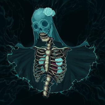 Esqueleto com véu e rosas brancas vector horror ilustração
