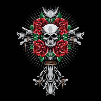 Esqueleto cruz com rosas