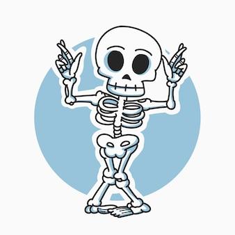 Esqueleto dançando ilustração de personagem de desenho animado
