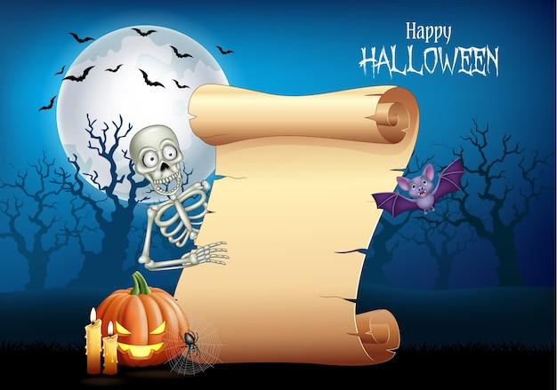 Esqueleto de desenhos animados segurando bandeira de rolagem
