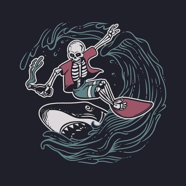 Esqueleto de design vintage fazendo surf enquanto segura uma garrafa de cerveja com tubarão e ilustração vintage de fundo preto