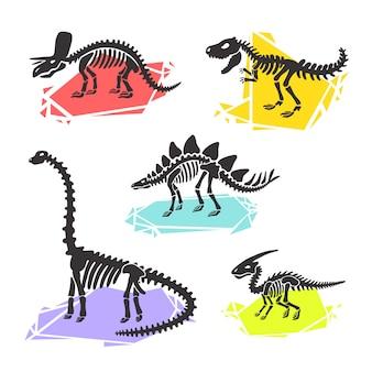 Esqueleto de dinossauro conjunto diplodocus, triceratops, t-rex, estegossauro, parasaurolophus. ilustração de cristal de cor.