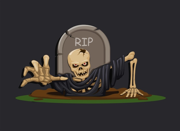 Esqueleto de homem morto levantando de uma cena de terror de pesadelo grave, ilustração de temporada de halloween