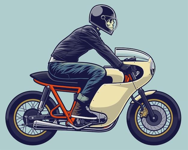 Esqueleto de ilustração de motociclista na moto
