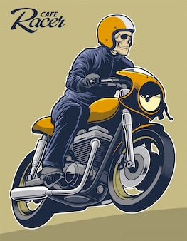Esqueleto de ilustração vetorial cafe racer na motocicleta