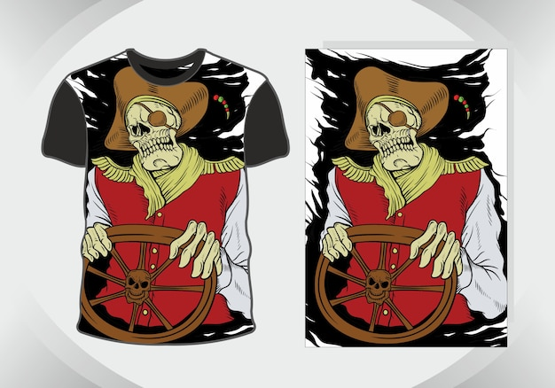 Esqueleto de pirata, ilustração de zumbi para design de t-shirt