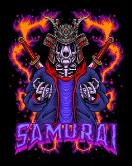 Esqueleto de samurai com roupa de besta badalada