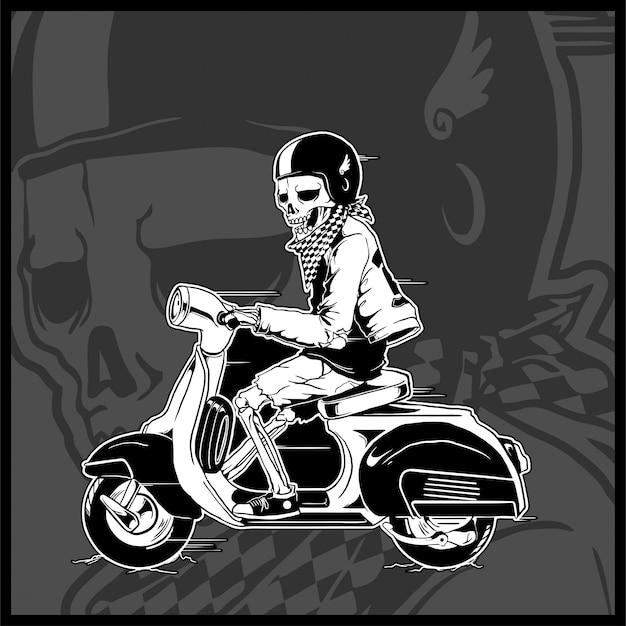 Esqueleto dirigindo uma scooter vintage