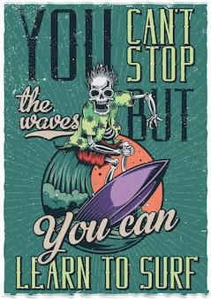 Esqueleto em cartaz de ilustração de prancha de surf