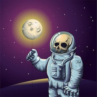 Esqueleto em traje de astronauta segurando a lua com o espaço sideral ao fundo