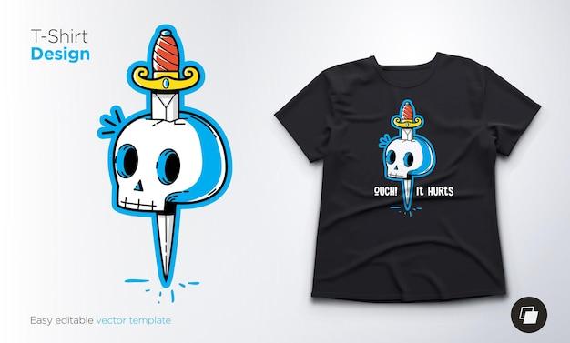 Esqueleto engraçado para o design de camisetas