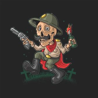 Esqueleto engraçado trazer revólver e ilustração vetorial molotov
