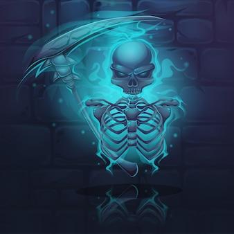 Esqueleto escuro com aura azul