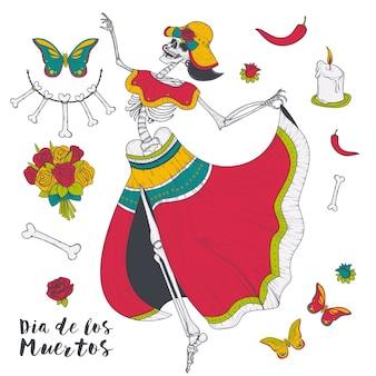 Esqueleto feminino de dança