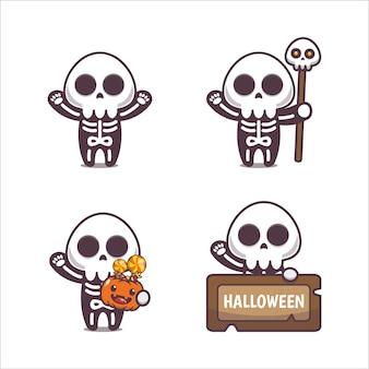 Esqueleto fofo ilustração dos desenhos animados do dia das bruxas ilustração fofo dos desenhos animados do dia das bruxas