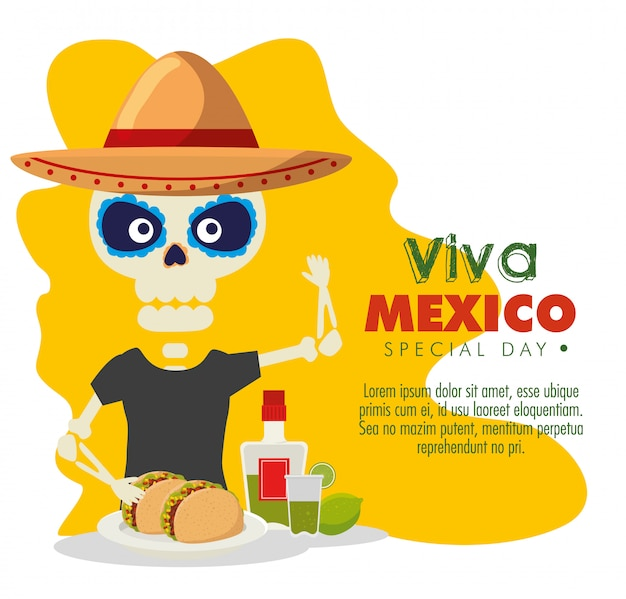 Esqueleto homem com tacos e tequila para evento de celebração