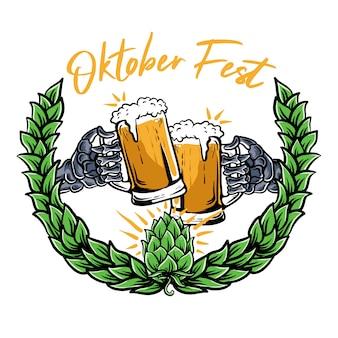 Esqueleto mãos segurando uma ilustração de copo de cerveja