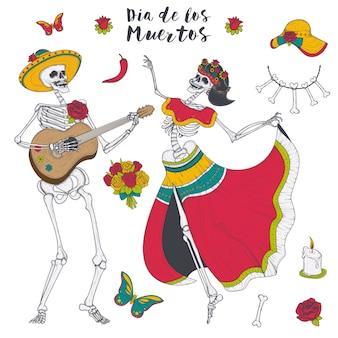 Esqueleto masculino e feminino toca guitarra e dança