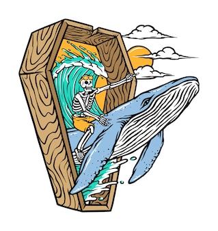 Esqueleto montado em uma ilustração de baleia