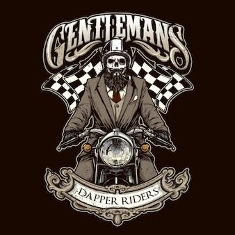 Esqueleto montando uma motocicleta vintage