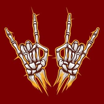 Esqueleto ossos mãos sinal de música rock