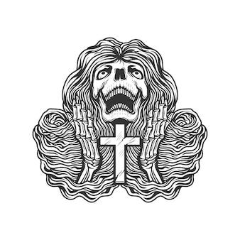 Esqueleto rezando com cruz