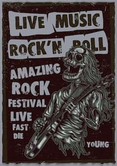 Esqueleto tocando guitarra ilustração