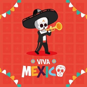 Esqueleto tocando trompete para o viva mexico