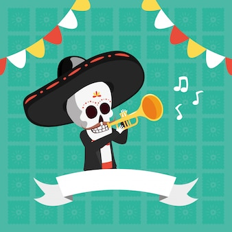 Esqueleto tocando trompete