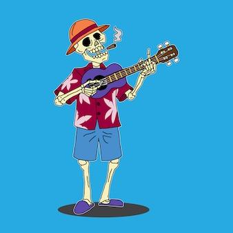 Esqueleto, tocando, ukelele, caricatura, ilustração