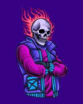 Esqueleto urbano com cabeça de caveira de fogo