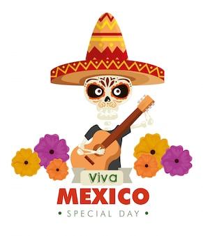 Esqueleto usando chapéu com guitarra e flores
