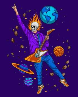Esqueleto voador tocando guitarra no espaço