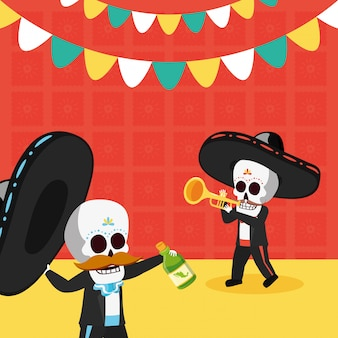 Esqueletos com garrafa de trompete e tequila