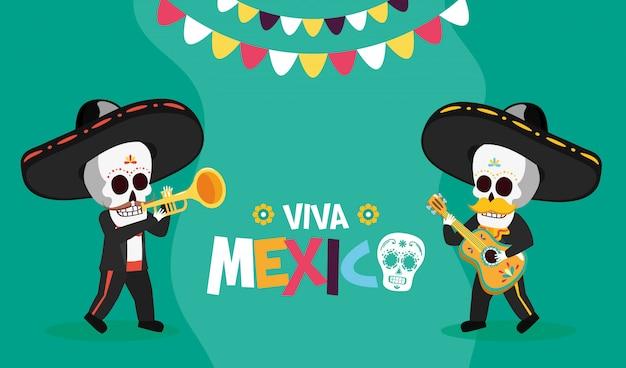 Esqueletos com trompete e guitarra