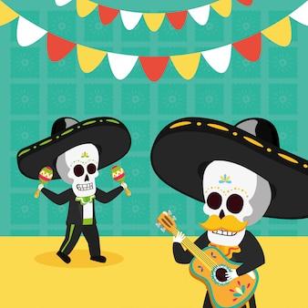 Esqueletos com violão e maracas