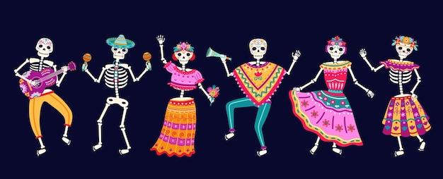Esqueletos dançantes. festa do dia morto, caveira de açúcar ou feriado de halloween. festival de música tradicional mexicana, personagens divertidos de vetor de dança brilhante. ilustração de festa do esqueleto, celebração mexicana dos mortos
