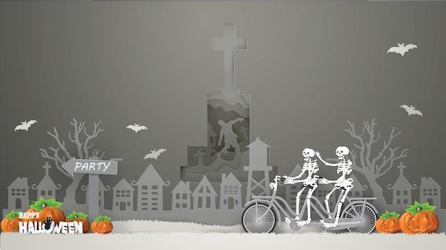 Esqueletos de casal andando de bicicleta na grama cinza