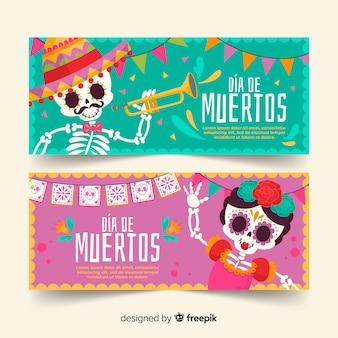 Esqueletos de menina e menino dia de muertos banners
