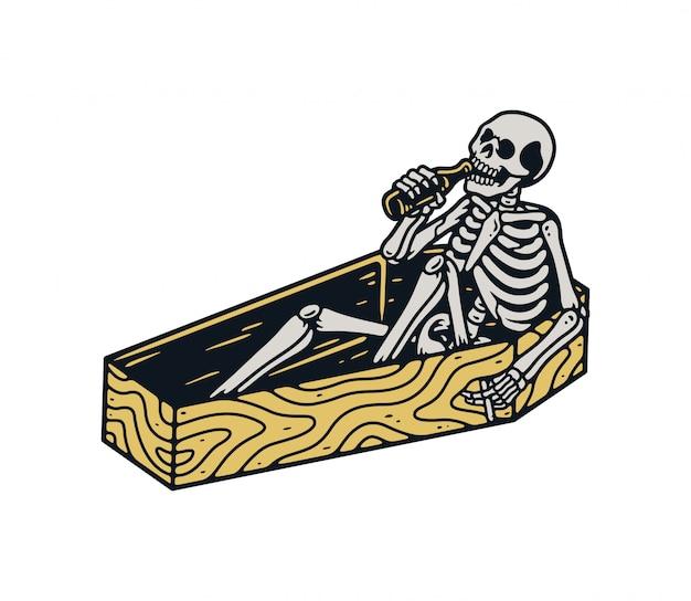 Esqueletos relaxam com uma garrafa de cerveja em um caixão premium
