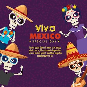 Esqueletos usando chapéu com catrina para evento de comemoração
