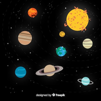 Esquema clássico do sistema solar com design plano