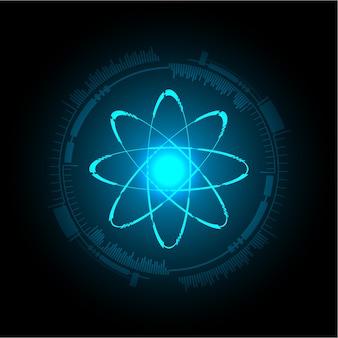 Esquema de átomo azul brilhante.